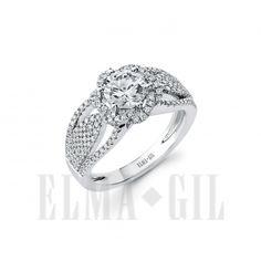 ELMA*GIL 18KWG Diamond Engagement Ring DR-669
