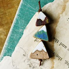 Handmade ceramic chunky triangle mountain beads in rustic, matte glazes by kylie parry studios