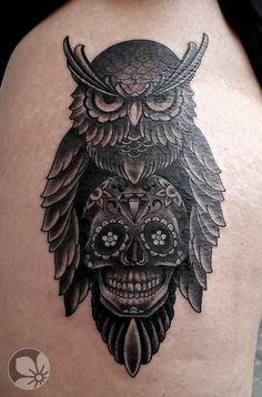 [www.tattoou.co.il :טאטו יו - כל מה שרצית לדעת על קעקועים] --- #tattoo #ינשוף# קעקוע #owl
