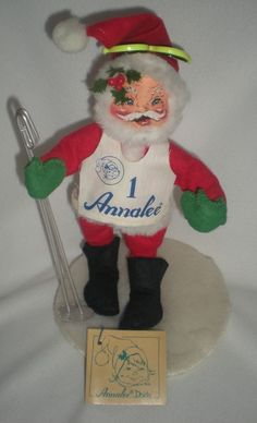 "Annalee Mobilitee Doll Skiing Santa 1993 Code #5242 Vintage 10"" Tall 6"" Diameter in Dolls & Bears, Dolls, By Brand, Company, Character 