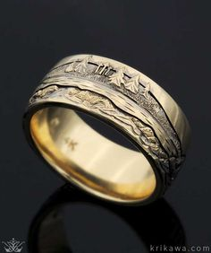 Mountain Wedding Band hand-carved with your favorite mountain range!