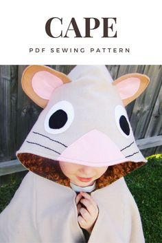 Make a mouse cape! Gruffalo fans get ready with this pdf sewing pattern for a dress up / costume.