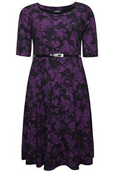 Plus Size Womens Black & Rose Print Skater Midi Dress With Patent Belt Size 22 Purple YoursClothing http://www.amazon.com/dp/B00MRA5LF0/ref=cm_sw_r_pi_dp_6CSxub1735Z96