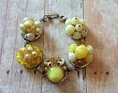 Yellow Bracelet, Granny Chic, Pantone Custard, Eco Chic, Recycled Jewelry, Upcycled Recycled Repurposed, Pastel Goth, Bridesmaid Gift