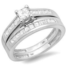 1.00 Carat (ctw) 14k White Gold ALL Princess Diamond Ladies Bridal Ring Engagement Set Matching Wedding Band null,http://www.amazon.com/dp/B009IZWSO4/ref=cm_sw_r_pi_dp_Lmfrsb18VHAMMT19