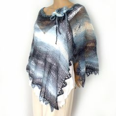 Handmade #Fashion Trend!  Loose #knit #poncho, Knit capelet, Off shoulder poncho, Summer poncho, Lace knit stole, Knit wrap, Freeform wrist corsage, Crochet necklace Many-in ONE! Loose lace knitted of... #accessories #fashion #boho #clothing #women #rusteam