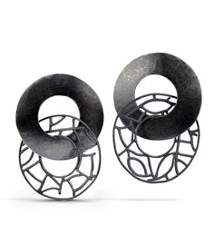 "Earrings | Beverly Tadeu.  ""Freewheeler"".  Sterling and oxidized sterling silver"