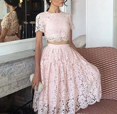 Two Pieces Pink Prom Dresses A Line Full