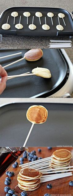 Kids Meals Pancake pops recipe - such a fun breakfast idea for kids! - Learn how to make Pancake Pops. The perfect breakfast party food for Father's Day, a PJ and Pancakes Birthday Party or even a Fourth of July brunch! Pancakes On A Stick, Mini Pancakes, Dinner Pancakes, Pancakes Kids, Blueberry Pancakes, Snacks Für Party, Party Desserts, Party Sweets, Party Appetizers