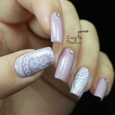 Romantic Freehand Lace Nail Art - Lucys Stash A little too long, but an interesting idea for lilac nails.