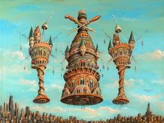 Sergey Tyukanov. Fantasy painting of ancient city floating over modern city