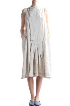 DANIELA GREGIS - Linen Dress With Box Pleats Detail :: Ivo Milan