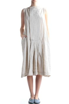 DANIELA GREGIS - Linen Dress With Box Pleats Detail :: Ivo Milan