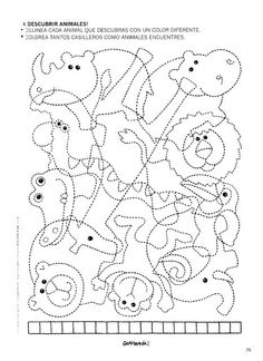 How many animals you see in the picture? School Worksheets, Worksheets For Kids, Motor Activities, Preschool Activities, Vision Therapy, Hidden Pictures, Activity Sheets, Zoo Animals, Colouring Pages