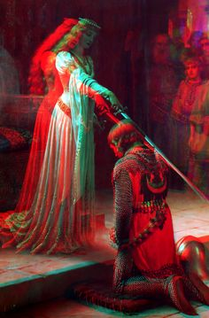 - anaglyph - Edmund_blair_leighton_the accolade Foto 3d, Acid Art, 3d Pictures, 3d Glasses, 3d Photo, Historical Art, Double Exposure, Glitch, Aesthetic Wallpapers
