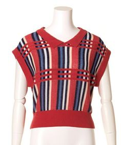 Lily Brown(リリーブラウン)の襟付きカラフルニットプルオーバー(ニット/セーター)|オレンジ