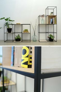 nortstudio | Beautiful shelf built up symmetrically and made of fine steel and plywood  #steel#shelf#wood