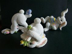 Tumbling Bunnies - Set of 6 - Easter Decor.