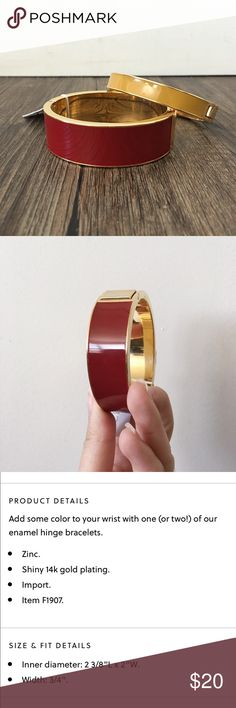J.Crew red enamel bracelet Brand new with tags! This is the perfect addition to your stack! J. Crew Jewelry Bracelets