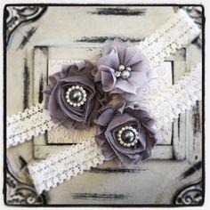Lace Wedding Garter Set, Vintage Garter, Ivory Lace Garter, Bridal Garter Set, Garter - Ivory lace, Gray Flower Garter Set by BridalQueen on Etsy