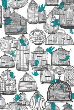 #birds #cage #pattern
