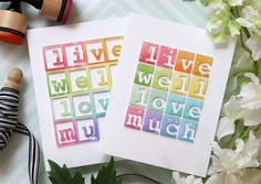Alphabet blocks Amore Laura Fadora: Live Well Love Much Card Making Inspiration, Making Ideas, Alphabet Cards, Alphabet Blocks, Simon Says Stamp Blog, Rainbow Card, Craft Club, Card Making Techniques, Better Love