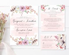 Dreamy pink and purple florals adorn the borders of our pretty 'Dreamwood' Wedding Invitation Suite, weaving together a harmony of bohemian-inspired elements with neat calligraphy and crisp formal lettering.
