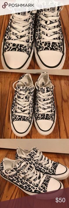 Leopard converse sneakers Perfect condition only worn for two hours, no stains. Very cute leopard converse sneakers white with black and gray leopard print. I wear a size 8 but these run big so the size 7 fit me. Converse Shoes Sneakers