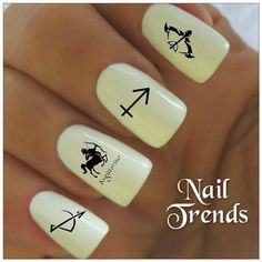 Sagittarius Nail Decals. Vinyl sticker nail art.  You will receive 20 nail decals and full instructions in a resealable bag.    Fun and easy
