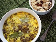 South African baked egg custard with minced beef & cinnamon basmati