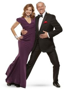 Darcey Bussell and Strictly Come Dancing's head judge Len Goodman - love the purple dress, want one!