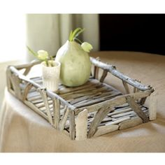 Driftwood tray for bathroom counter, bet I could DYI this .