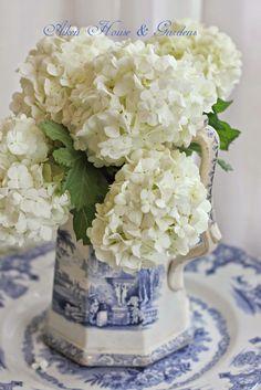 Aiken House & Gardens:   A pretty pitcher with a #bouquet of #white #viburnum  snowballs