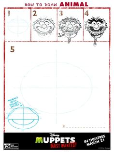 Draw animal, Muppets Most Wanted Free printables, Muppets free printable, Muppets Birthday