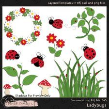 EXCLUSIVE Layered Ladybugs Templates By NewE Designz #CUdigitals cudigitals.com cu commercial digital scrap #digiscrap scrapbook graphics
