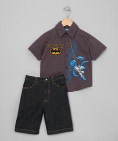 Gray Batman Button-Up & Shorts - Infant, Toddler & Boys #zulily #fall