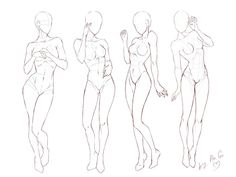 Tutorial_Female poses by ChioShin on DeviantArt Body Reference Drawing, Drawing Reference Poses, Female Pose Reference, Basic Drawing, Anatomy Poses, Anatomy Art, Anatomy Drawing, Manga Poses, Sketch Poses