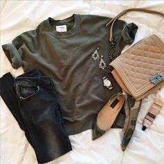 Cara Shortsleeve http://shopsincerelyjules.com/collections/shop/products/cara-short-sleeve-sweatshirt-olive