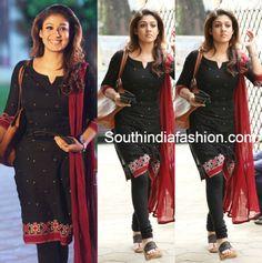 Nayanthara in Black Salwar – South India Fashion Salwar Kameez Neck Designs, Salwar Designs, Kurta Designs Women, Kurti Designs Party Wear, Dress Neck Designs, Blouse Designs, Chudidhar Designs, Simple Kurta Designs, Kalamkari Dresses