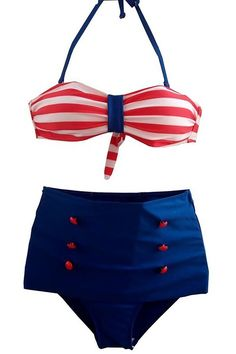 Nautically Padded Striped Bra Super High Waisted Bikini Halter Swimwear for Women