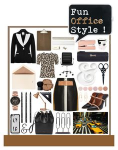 """Fun Office Style with bold Colour Blocking and Animal Prints"" by perth-fashion-stylist ❤ liked on Polyvore featuring Love Moschino, Alexander Wang, Moschino, Mansur Gavriel, Malone Souliers, Dempsey & Carroll, Kate Spade, Safavieh, ferm LIVING and Harrods"