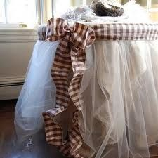 brown and white tulle table skirt