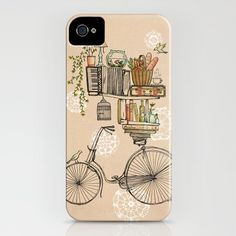 got it. love it! books, fishbowl, bread basket, coffee, vintage travel case, bike. what could be more perfect for me and my phone?