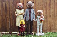 DIY goldilocks and 3 bears family costumes.   Not in love with the bears but cute idea