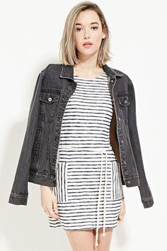F21 Drawstring Striped Dress $19.9