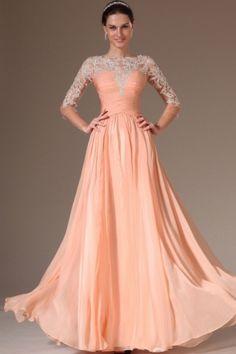 A-Linie U-Ausschnitt Bodenlang Chiffon Tülle Kleid - $124.99