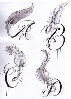 Letters with Wings - Tattoos and Tattoo Designs: Letters Tattoo Tattoos Tattoos For Kids, Tattoos For Daughters, Small Tattoos, Letter R Tattoo, Initial Tattoo, Feather Tattoo Design, Feather Tattoos, Wing Tattoos, Tatoos