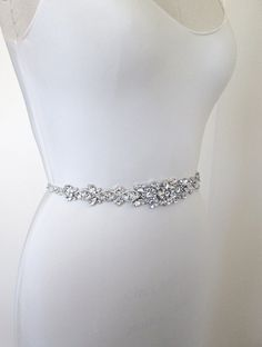 Wedding belt, Bridal belt sash, Crystal belts sashes, Grosgrain ribbon belt, Bridal beaded rhinestone belt