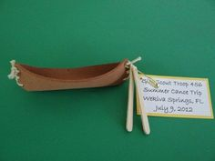 Girl Scout Canoe SWAP - This canoe is the perfect SWAP kit for campouts, canoe trips, water safety training days, summer camps, and Native American events, like Pow Wows! The girls get to stitch the two sides of the canoe together and add paddles. They can even decorate the sides of the canoe with Native American or nature-inspired pictures and symbols. Every kit includes a pre-threaded plastic needle for easy stitching.