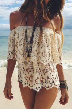 Strapless Lace Beach Bikini Blouses